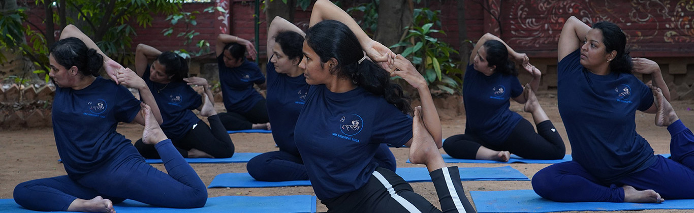 eka pada rajakapotasana or the pigeon yoga pose being done by students during yoga classes for a ladies-only batch