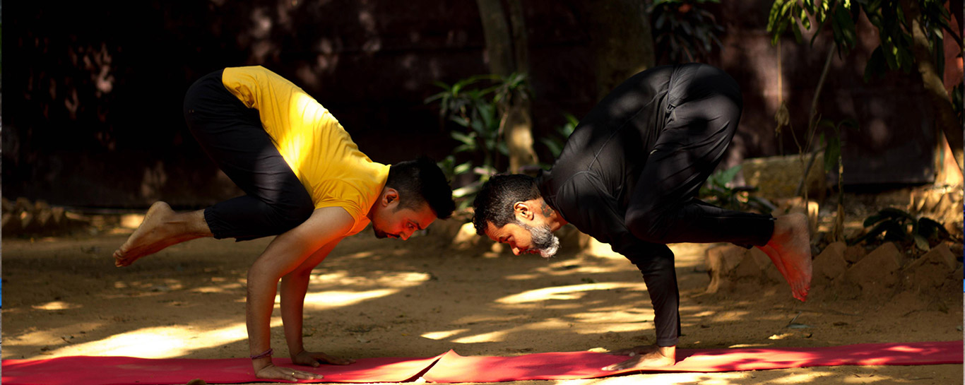 shyam ahir and dinesh chengappa doing the bakasana or crow yoga pose at srikrishana wellness yoga centre