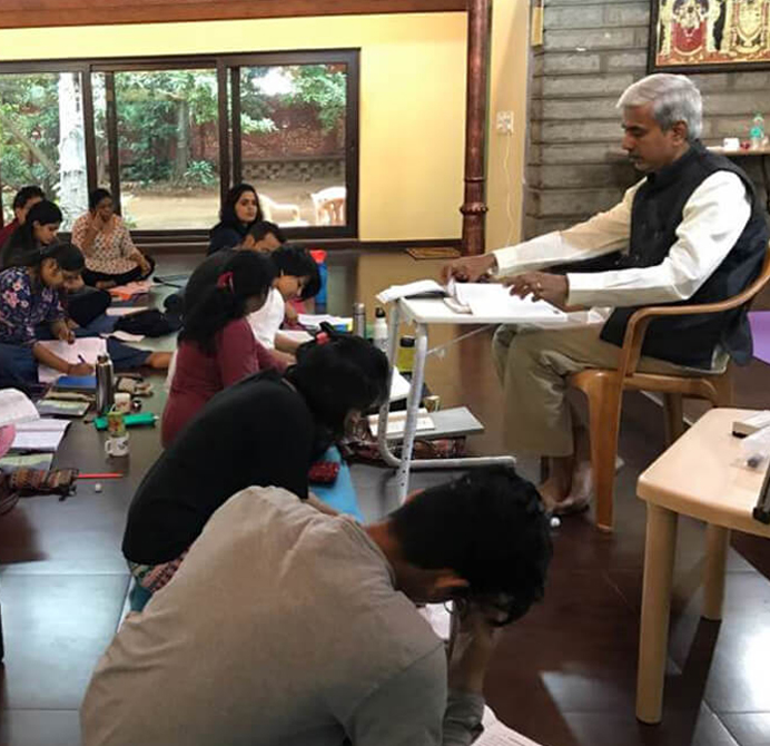 Yoga Teacher Training Class in progress with Shri V Srinivasan  at Sri Krishna Wellness Yoga & Cultural Centre  Bangalore