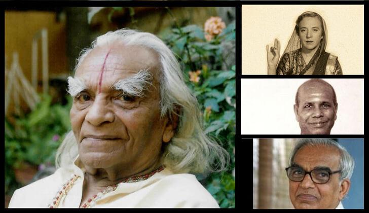 Shri BKS Iyengar , Shri TKV Desikachar , Madame Indra Devi , Shri Pattabhi Jois