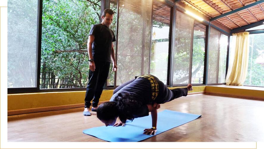 ardha Padma galavasana yoga pose picture