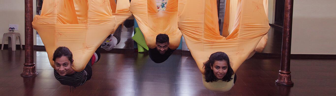 aerial yoga bat pose