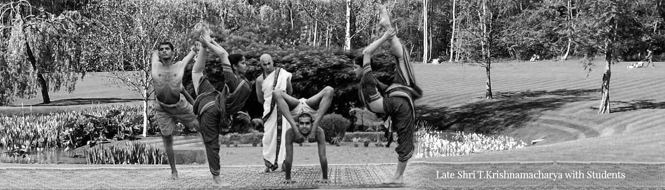 t. krishnamacharya yoga teacher with students picture